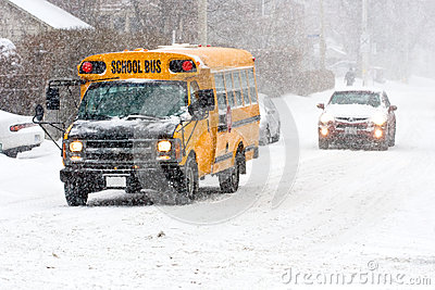 School bus in snowstorm