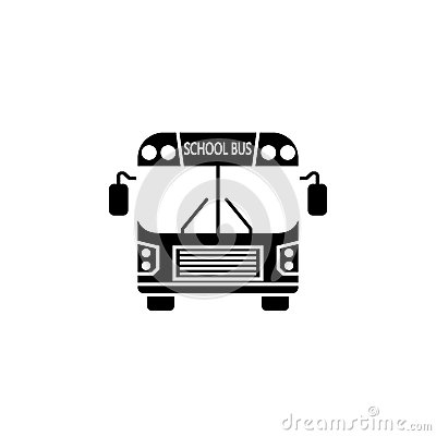 School bus solid icon, student transport Vector Illustration