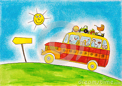 School bus trip, child s drawing, watercolor painting