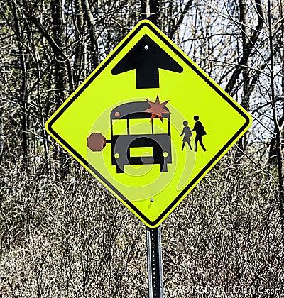 School Bus Warning Traffic Sign