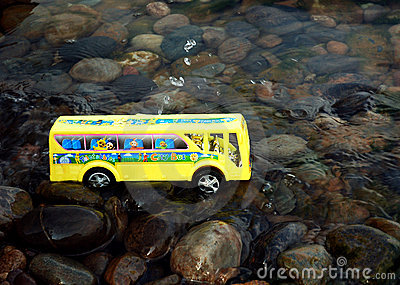 School bus in water