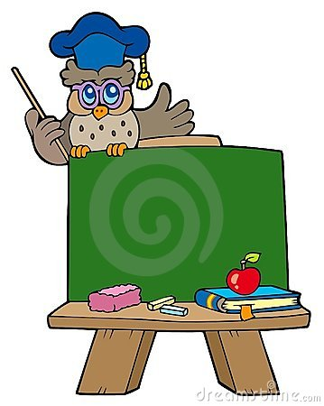 School chalkboard with owl teacher
