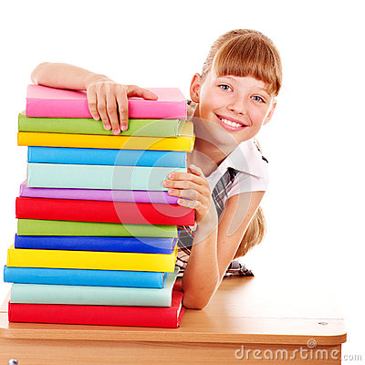 Free School Child Holding Stack Of Books. Stock Photos - 32199453