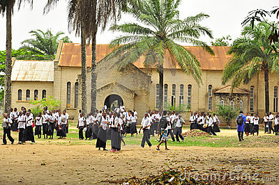 School children in africa outside church