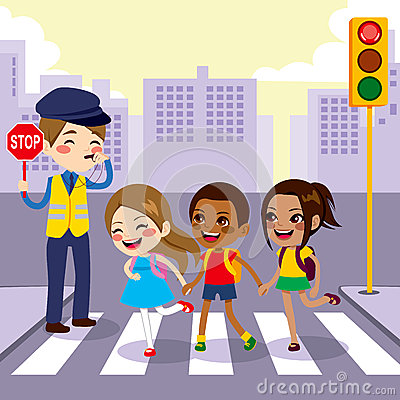 ... through pedestrian crossing with help from male cop holding stop sign