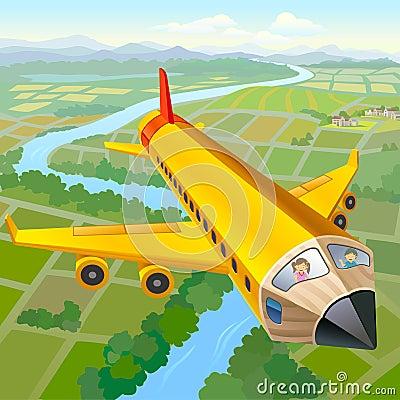 School Children On Pencil Aeroplane Ride