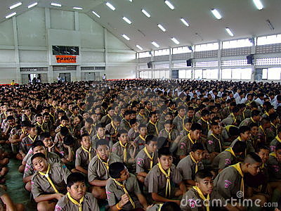 School children sit at assembly, Thailand. Editorial Stock Photo