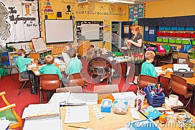 School classroom teacher children Editorial Image