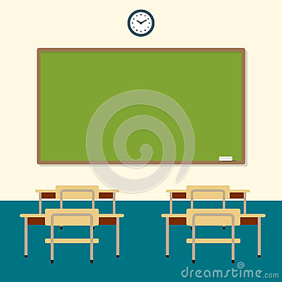 Free School Classroom With Chalkboard And Desks. Education Board, Table And Study. Vector Flat Illustration Stock Images - 67437674