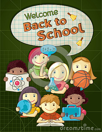 School Concept Illustration With Cute Kids