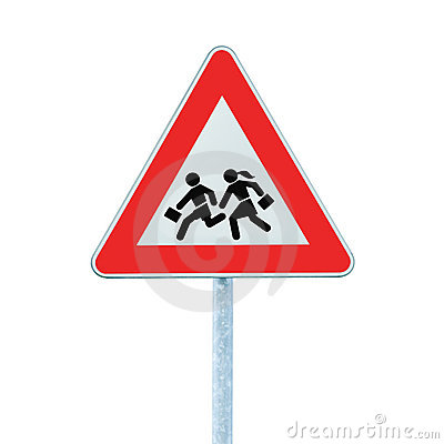 School Crossing Roadside Warning Sign Isolated