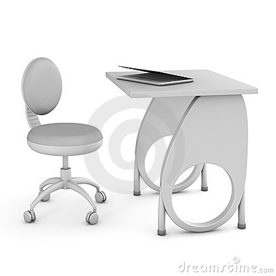 School desk and chair. 3D image.
