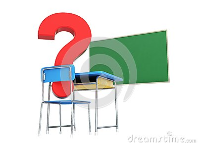 School desk question mark 3d Illustrations