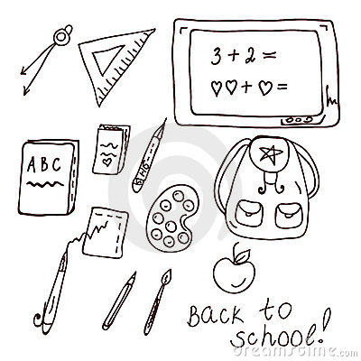 School doodle with different objects