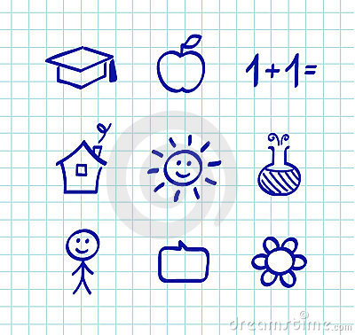 School doodle drawings and icons