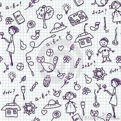School doodle seamless pattern