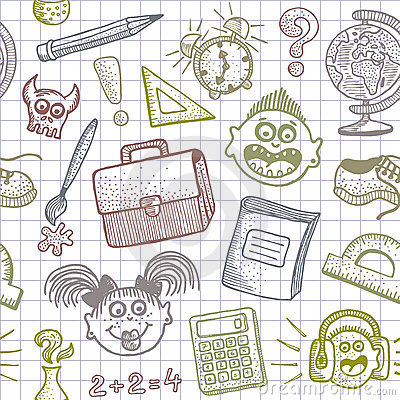 School doodles seamless background
