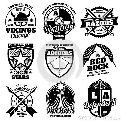 Free School Emblems, College Athletic Teams Sports Labels, T-shirt Graphics Vector Collection Stock Photo - 87843420