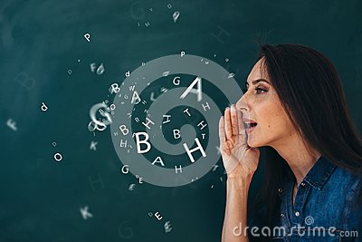 School, English lesson ourse of studying a foreign language. Stock Photo