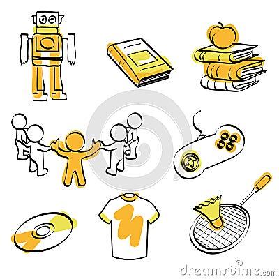 School and fun icon set vector