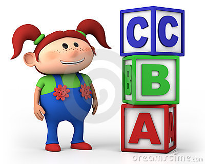 School girl with ABC cubes