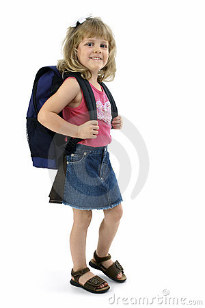 School Girl with Backpack