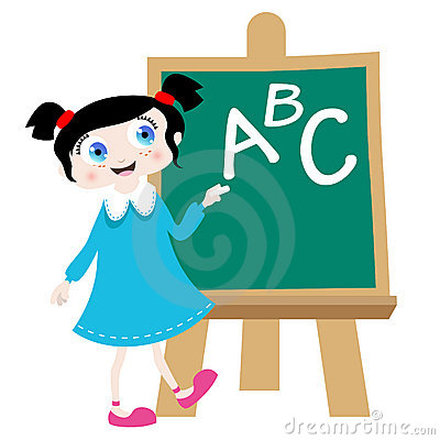 School girl on the blackboard vector
