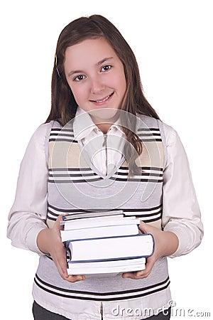 School girl holding books