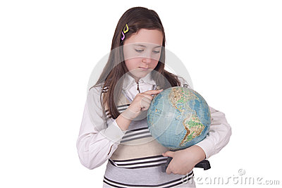School girl holding a globe