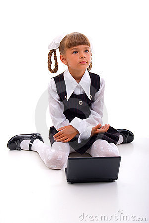 School Girl with laptop