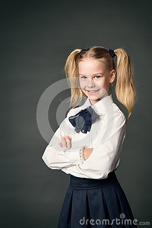 Free School Girl Over Blackboard Background, Happy Child Portrait Stock Image - 122340951
