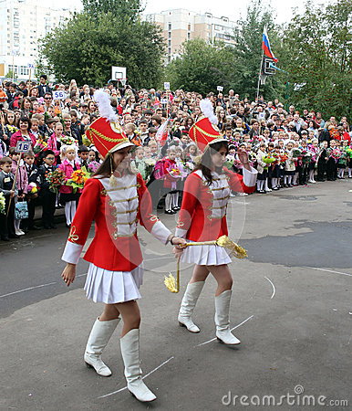 School girl parade on the 01 September - Russian starting school year day Editorial Image