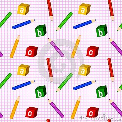 School Girl Seamless Pattern
