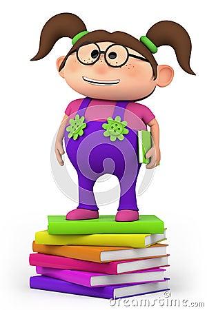 School girl standing on stack