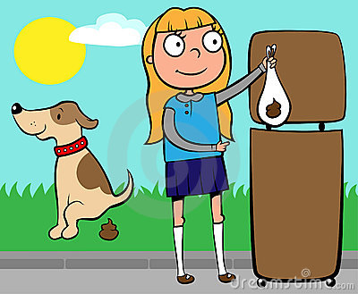 School girl throwing out dog s poo