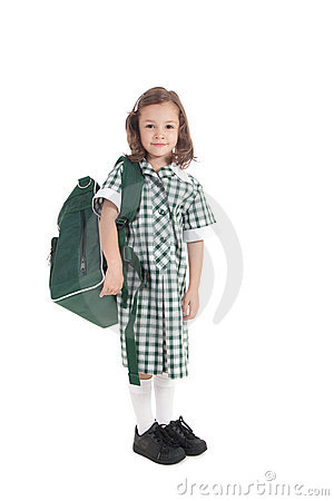 School girl in uniform with bag