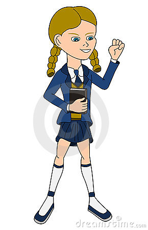 School girl in uniform cartoon