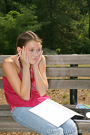 School Girl Working on Difficult Homework