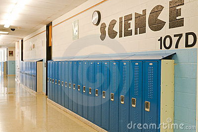 School hallway lockers