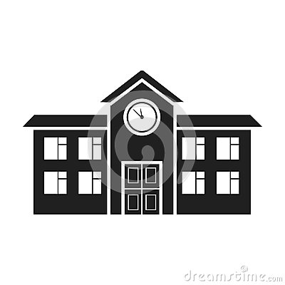 Free School Icon In Black Style  On White Background. Building Symbol Stock Vector Illustration. Royalty Free Stock Photos - 79506508