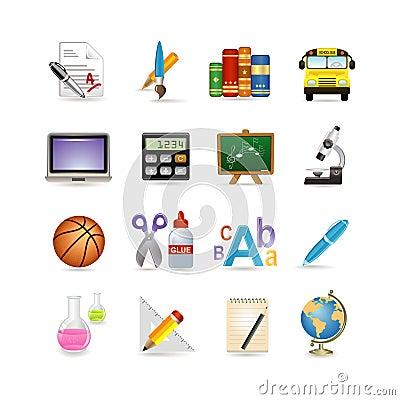 Free School Icon Set Royalty Free Stock Photos - 13288418