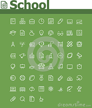 Free School Icon Set Royalty Free Stock Images - 36385259