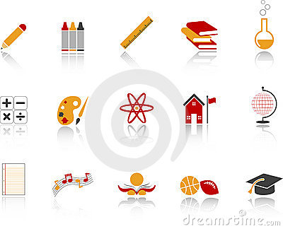 School Icon Set - Red