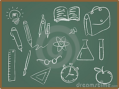 School Icons on ChalkBoard