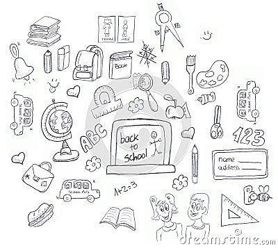School icons doodle