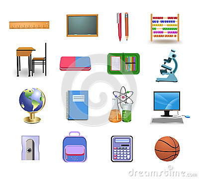 School icons and objects
