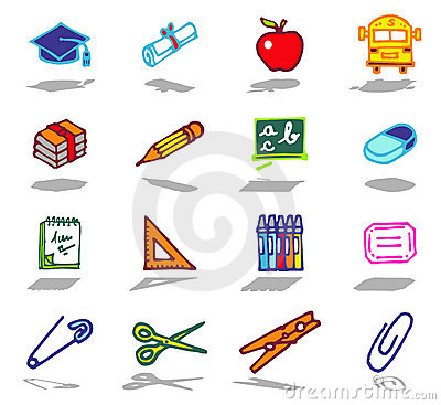 school icons set