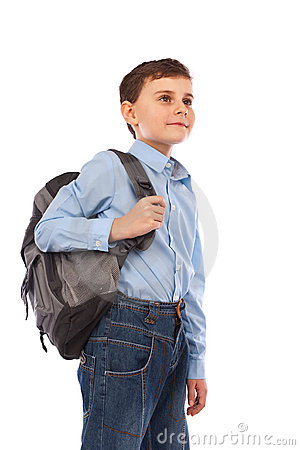 School kid with backpack