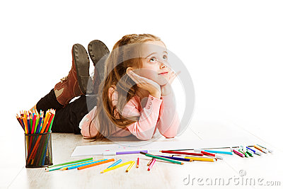 School Kid Thinking, Education Inspiration, Child Girl Dreaming Stock Photo