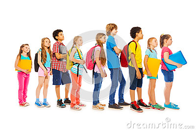 School Kids With Backpacks And Textbooks Stock Photo - Image: 58491722